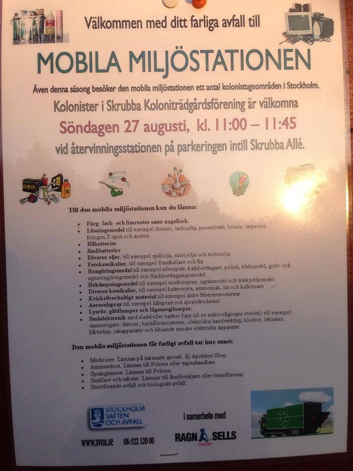 Mobila miljöstationen kommer till Skrubba